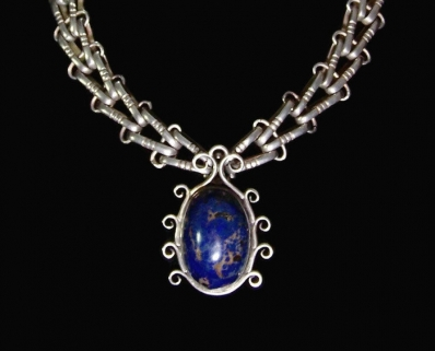 Hector Aguilar Vintage Mexican Silver Azurite Drop & V Chain