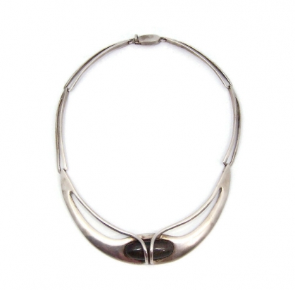 Erika Hult Mexican Silver Obsidian Wrap Necklace