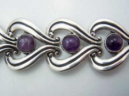 R. Rivera Heavy Vintage Mexican Silver Amethyst Bracelet
