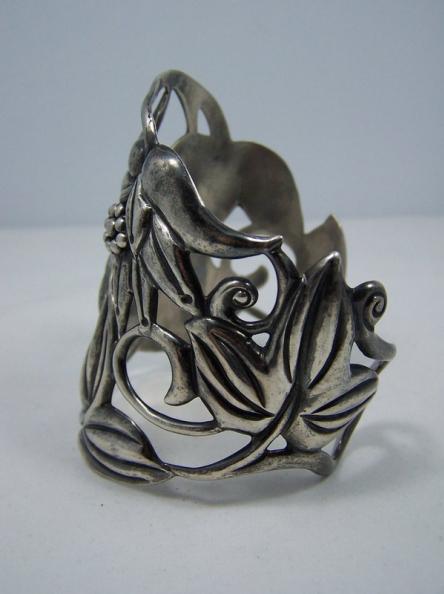 Huge Mexican Silver Far Fan Repousse Cuff Bracelet