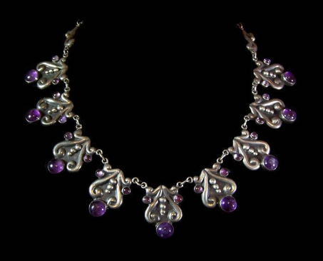 Felipe Martinez Early Amethyst Vintage Mexican Silver Necklace