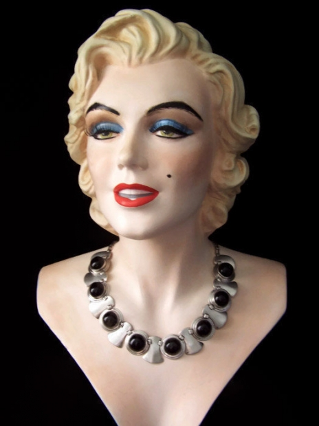 Obsidian Vintage Mexican Silver Necklace & Earrings