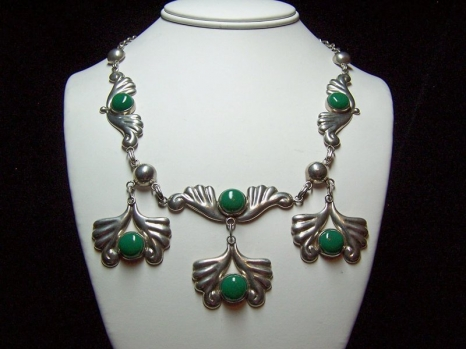 Green Necklace and Earring Set Vintage Mexican Silver