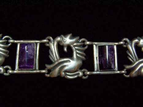 Glyph W/ Amethyst Bars Vintage Mexican Silver Bracelet