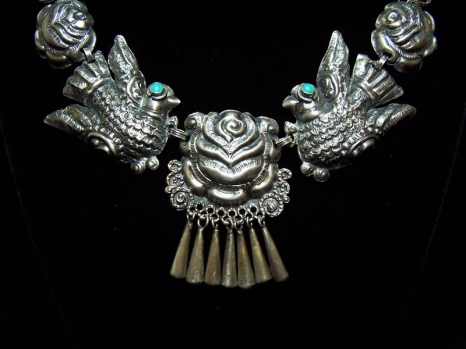 Matl Salas Palomas Roses Mexican Silver Necklace