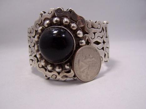 Santana Vintage Mexican Silver Obsidian Bracelet