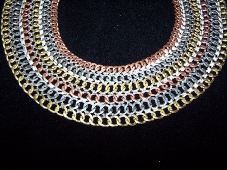 Vintage Mexican Silver Wide Chain Mail Necklace