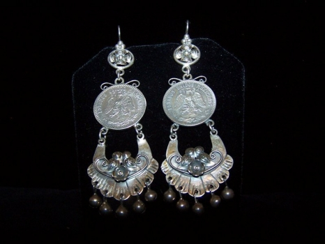 Mazahua Mexican Silver Coin Earrings