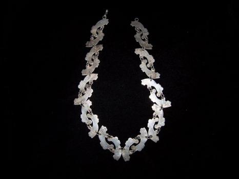Vintage Mexican Silver Repousse Necklace