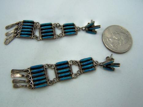 Vintage Zuni Native America Sterling Turquoise Earrings