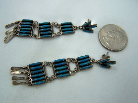 Vintage Zuni Native America Sterling Turquoise Earrings
