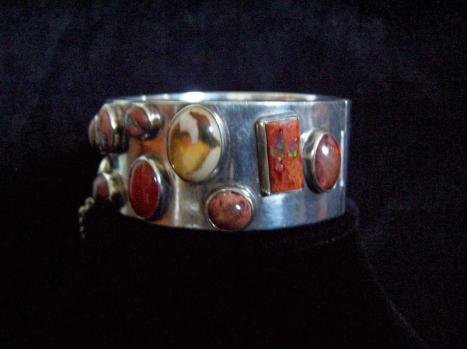 Carmen Beckmann Fire Opal Mexican Silver Bracelet