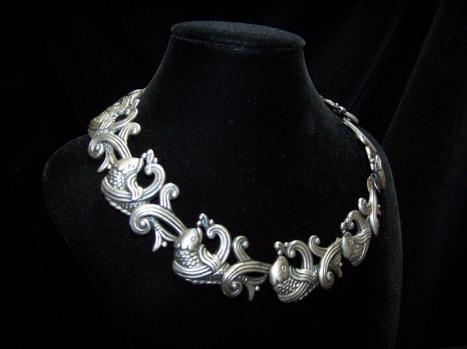 Los Castillo Big Fish Vintage Mexican Silver Necklace