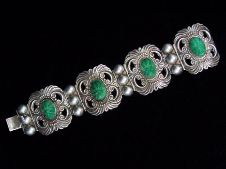 Patino Repousse Vintage Mexican Silver Bracelet
