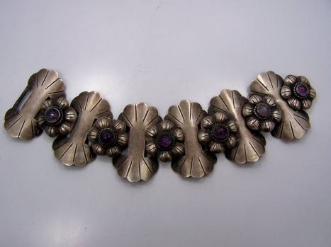 Amethyst Vintage Mexican Silver Floret Bracelet