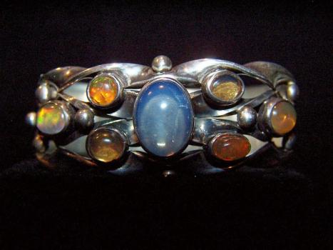 Moonstone Vintage Mexican Silver Miguel Bracelet