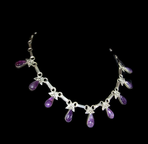 Amethyst Drop Vintage Mexican Silver Necklace