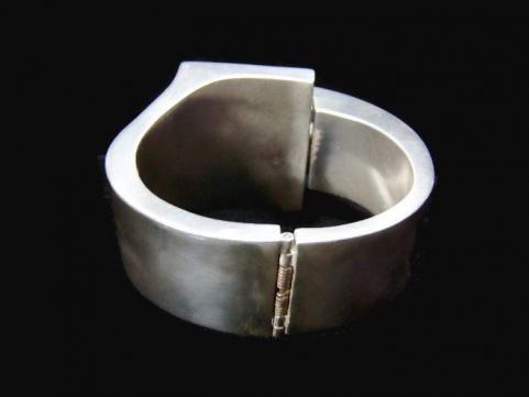 Lopez Modernist Mexican Silver Clamper Bracelet