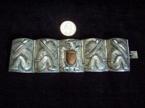 Repousse Vintage Mexican Silver Bracelet W/ Masquette