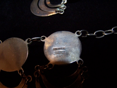 Vintage Mexican Silver Signed Elna Domes and Dangles