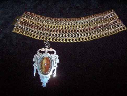 Vintage Mexican Silver Mixed Metale Bracelet and Charm