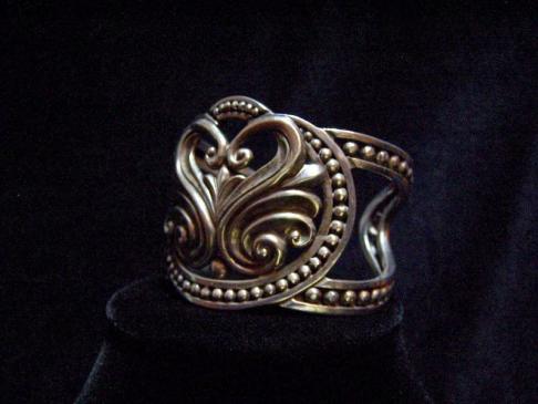 Margot de Taxco 5291 Vintage Mexican Silver Swan Cuff