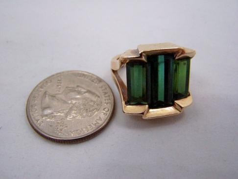 Antonio Pineda Tourmaline Mexican Gold Ring Very Rare