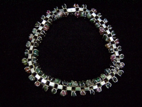 Tono Multi Jeweled Vintage Mexican Silver Necklace