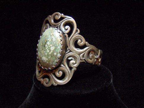 Art Nouveau Agate Mexican Silver Huge Bracelet