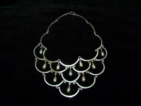 Vintage Mexican Silver Cascade Necklace With Drops