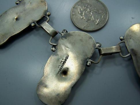 Old Mexico City Repousse Vintage Silver Necklace