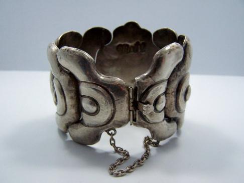 Obsidian Matl Matilde Poulat Mexican Silver Bracelet