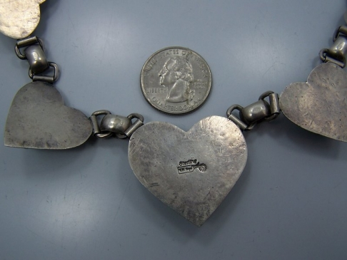 Native American Randy Boyd Silver Hearts Necklace