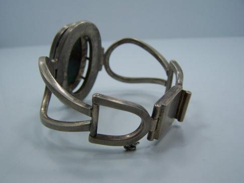 Remy Vintage Mexican Silver Green Stone Bracelet