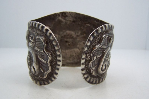 Vintage Mexican Silver Open Backed Repousse Sunflower Cuff