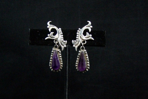 Vintage Mexican Silver Amethyst Teardrop Earrings
