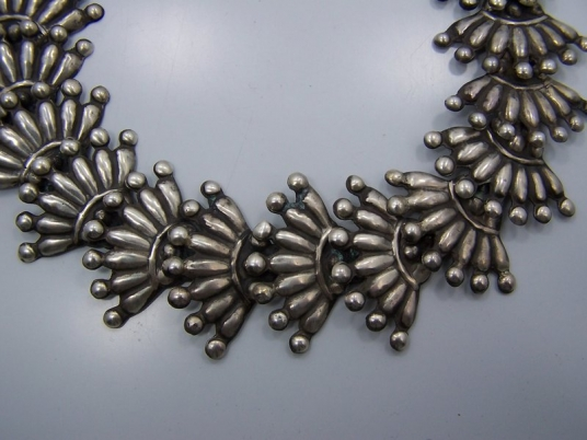 Huge Vintage Mexican Silver Fan Necklace Superb