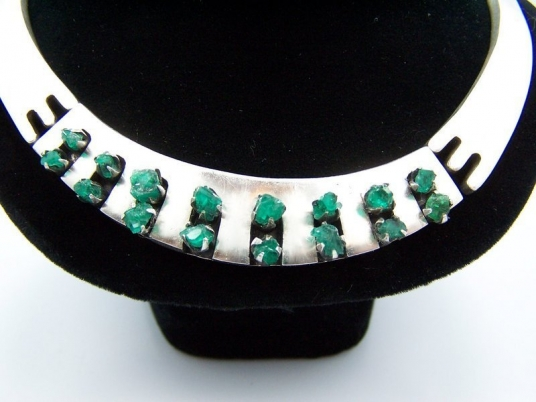 Salvador Teran Vintage Mexican Silver Emerald Necklace