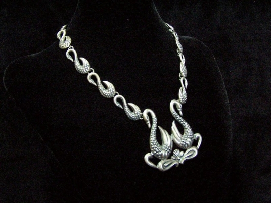 Vintage Mexican Silver Swan Necklace/Earrings Set