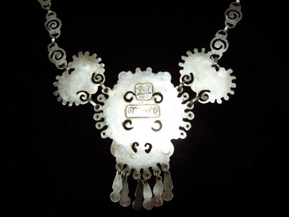 Matl Salas Jeweled Mexican Silver Necklace