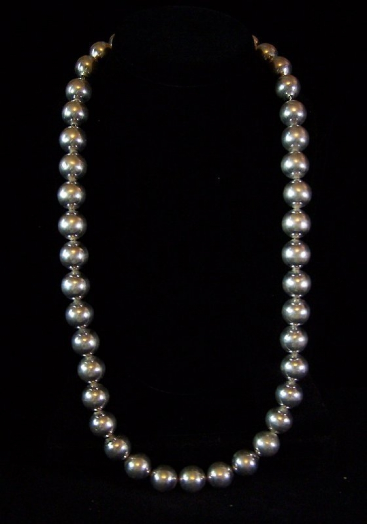"""Vintage Mexican Silver Huge Beads Necklace 24 """" Long"""