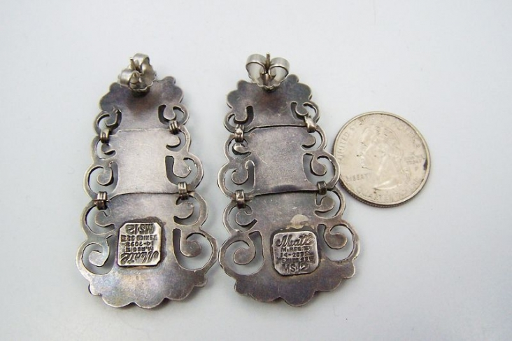 Matl Matilde Poulat Salas Jeweled Mexican Silver Earrings