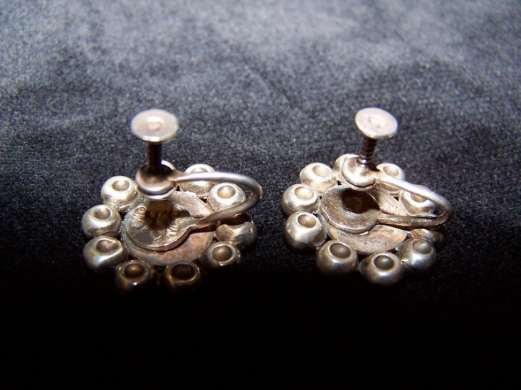 Hector Aguilar Vintage Mexican Silver Dimpled Earrings