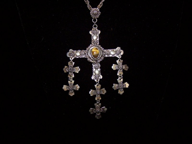 Mexican Silver Large Yalalag Cross with Tiger Eye