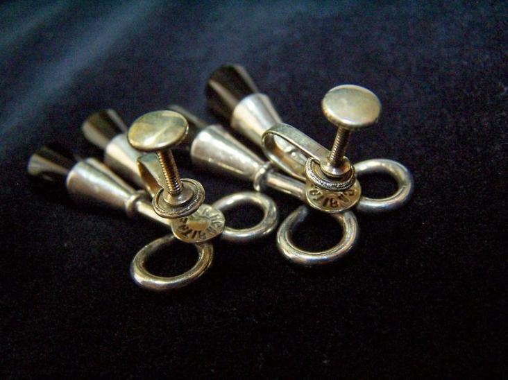 Margarita Vintage Mexican Silver Obsidian Earrings