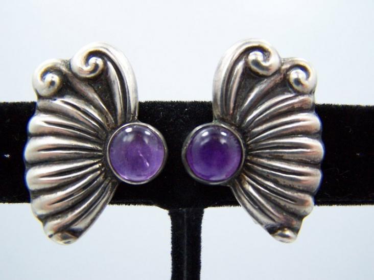 Vintage Mexican Silver Amethyst Earrings by Carlos