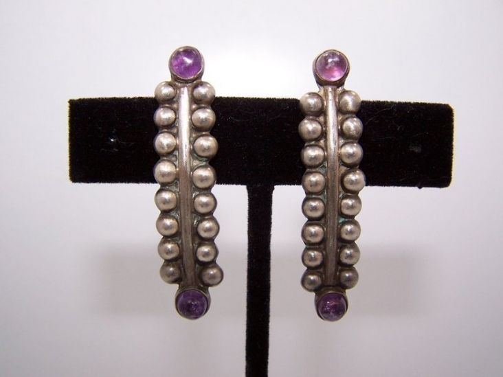 Fred Davis Style Vintage Mexican Silver Earrings