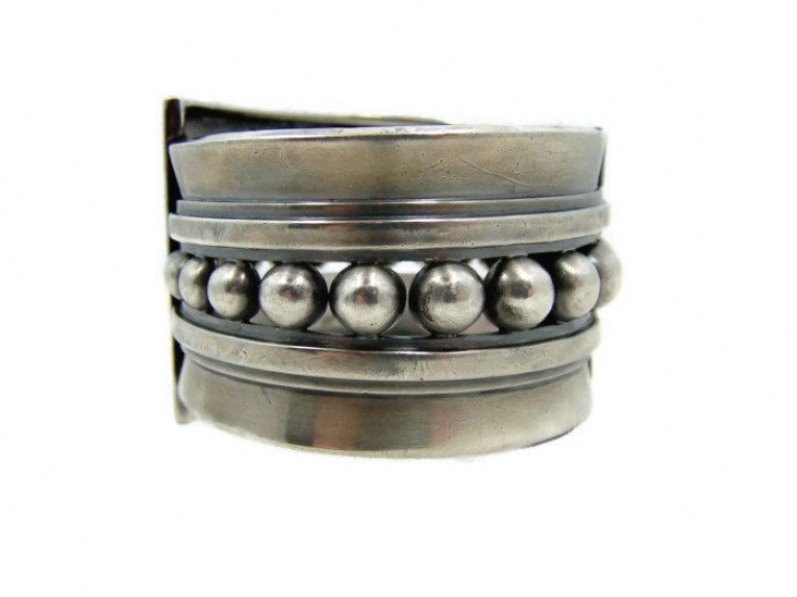 Margot de Taxco Vintage Mexican Silver Bracelet 5247 Clamper
