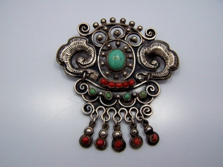 Matl Matilde Poulat Early Vintage Mexican Silver Brooch