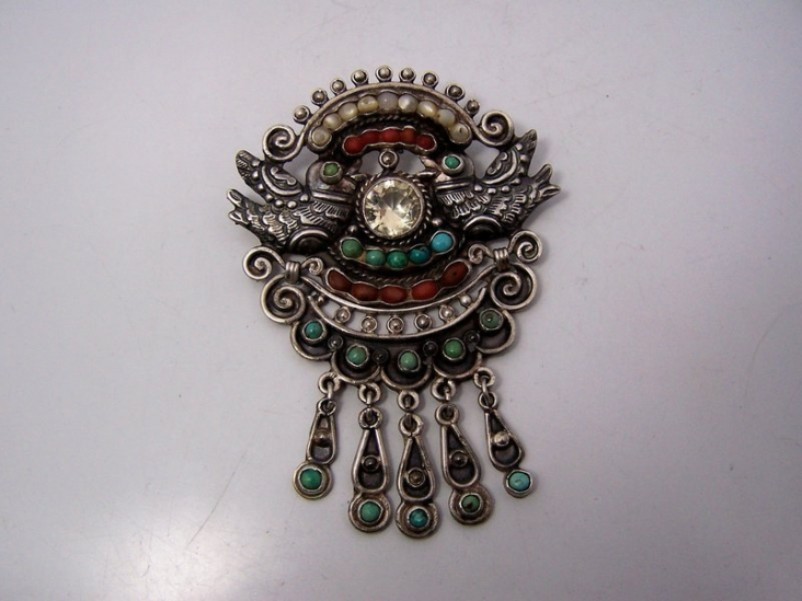 Old Matl Matilde Poulat Mexican Silver Brooch W/ Stones